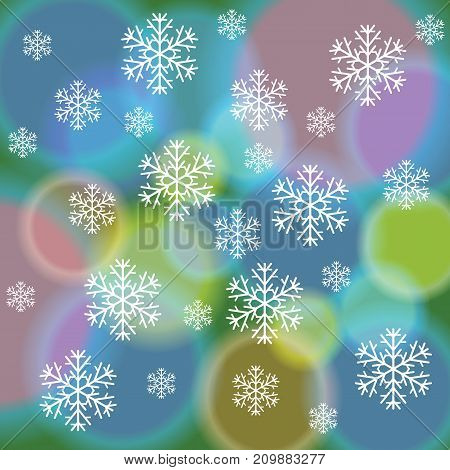 abstract snowflake pattern on Blurred colorful background