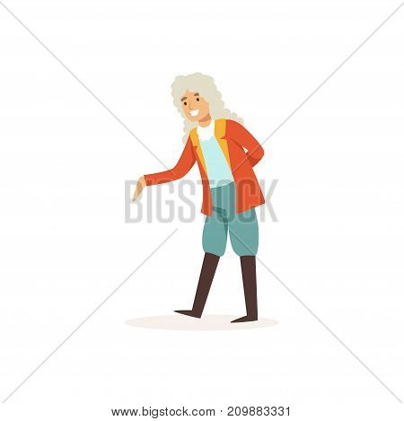 Young actor play in theatrical performance in medieval clothes. Dressed in colonial wig, velvet blue pants, leather boots, red jacket. Cartoon dramatic artist character. Flat vector isolated on white.