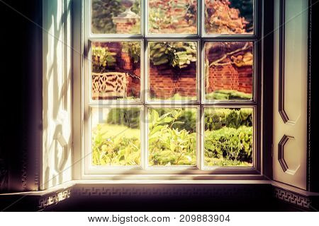 The shadows and light hitting a window that looks in to a Virginia yard.