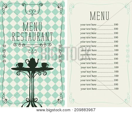 Vector menu for restaurant or a cafe with a price list and image of the table with a kettle and cups on a checkered background
