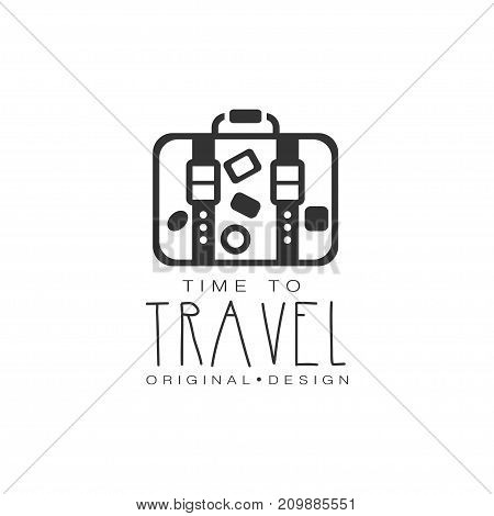 Time to travel. Tour operator label with suitcase and stickers. Black and white typographic design logo for tourist agency. Flat vector illustration isolated on white background with place for text.