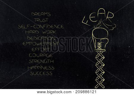 Boxing Glove On Spring Destroying Fear Text Next To List Of Elements For Success