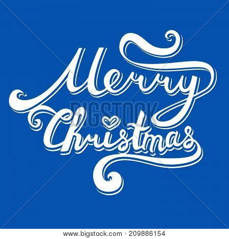 Merry Christmas Inscription. Hand Drawn Lettering With Curves. Volumetric Calligraphy Script On Blue