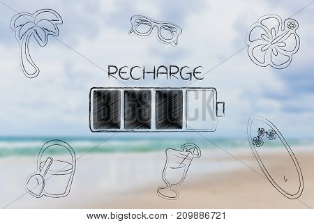 recharge your energy conceptual illustration: battery with caption surrounded by holiday-related objects on blurred beach background