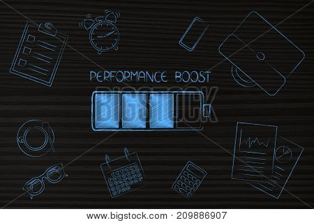 Performance Boost At Work, Battery And Caption Among By Office-related Objects