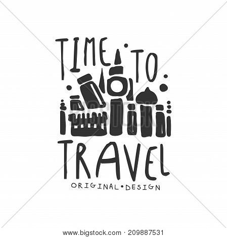 Time to travel. Tour operator label with traveler accessories silhouette. Around the world. Black and white hand written logo design for tourist agency. Flat vector illustration isolated on white