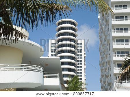 The modern architecture of Miami South Beach district (Florida).