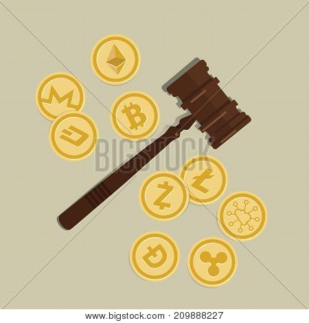 bit coin crypto currency legal aspect regulation law wooden hammer gavel justice legal authority case verdict law suit vector
