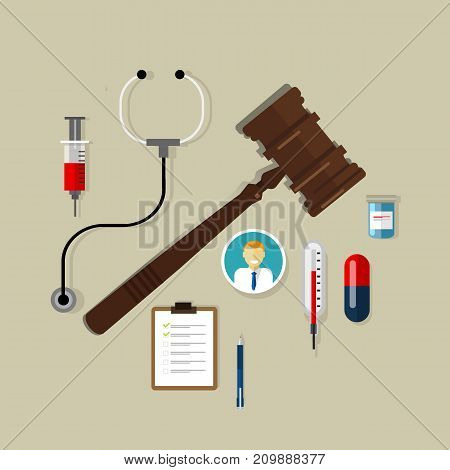 medical law wooden hammer gavel justice legal authority case verdict law suit vector