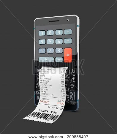 Smartphone With Purchases Calculator, 3D Illustration, Isolated Black