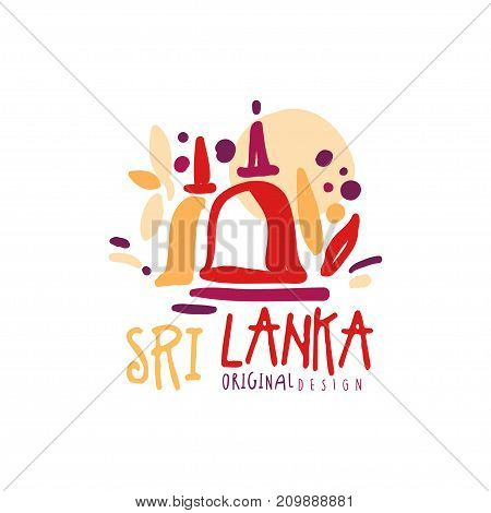 Travel and tourism logo concept for agency or tour operator. Handwritten lettering. Doodle of Sri Lanka Golden temple of Dambulla for summer vacation or holidays. Hand drawn vector isolated on white