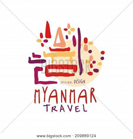 Travel tourism logo concept for agency or tour operator. Handwritten lettering. Abstract kids doodle of Myanmar Shwedagon Pagoda for summer vacation or holidays. Hand drawn vector isolated on white
