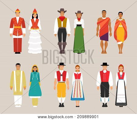Big set of national costumes. Kyrgyz American and Kenyan Pakistani Swiss and Norwegian traditional dresses