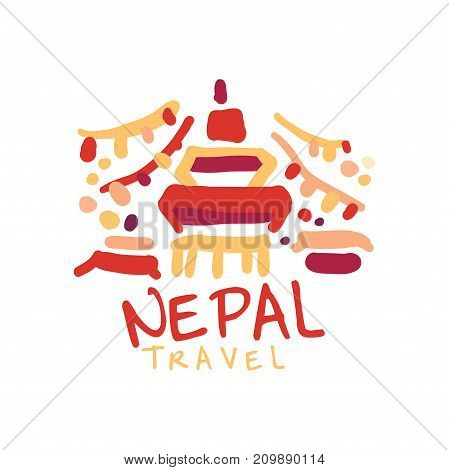 Travel and tourism logo concept for agency or tour operator. Handwritten lettering. Doodle of Nepal Trailokya Mohan Narayan Temple for summer vacation or holidays. Hand drawn vector isolated on white