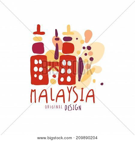 Travel and tourism logo concept for agency or tour operator. Handwritten lettering. Kids doodle of Malaysia Petronas Twin Towers for summer vacation or holidays. Hand drawn vector isolated on white