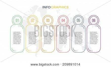 Business infographics. Presentation with 6 columns, options. Vector template.