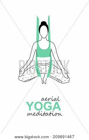 Aerial, fly yoga meditation logo template. Anti-gravity yoga meditation minimalistic card design. Vector illustration.