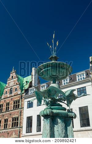 The Stork Fountain is located on Amagertorv in Copenhagen. It was a present to Crown Prince Frederik and Crown Princess Louise in connection with their silver wedding anniversary in 1894. It depicts three storks about to set off.