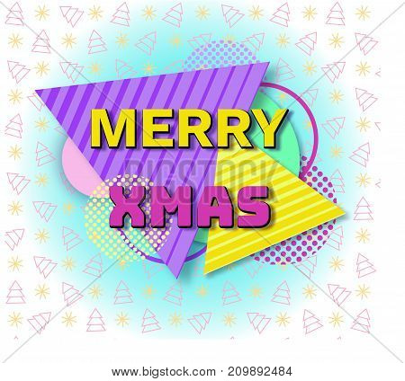 Merry christmas geometric greeting card in trendy memphis 90s style with triangles, lines, lettering, snowflakes, party background or invitation template, banner, cover, vector illustration