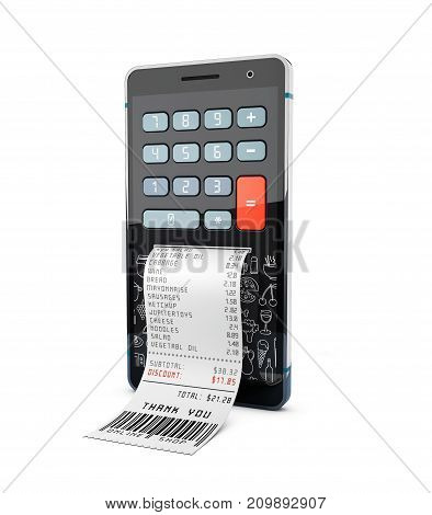 3D Illustration Of Smartphone With Purchases Calculator