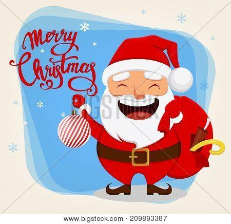 Santa Claus funny cartoon character. Smiling Santa holding bag with presents and Christmas tree toy. Vector illustration.