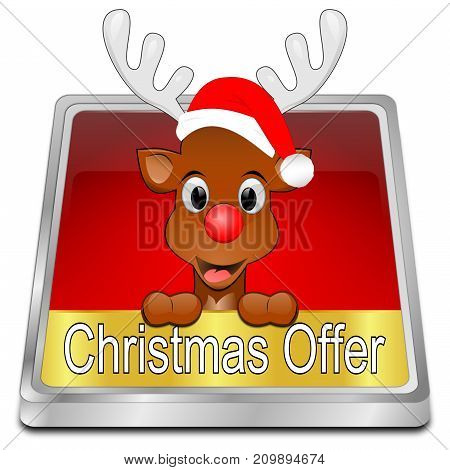 red Christmas Offer button - 3D illustration