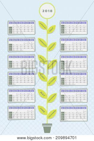 Calendar for year 2018 vector illustration flower design