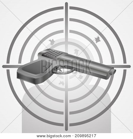 Target with gun vector shooting range concept illustration