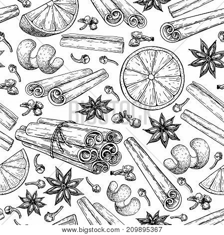 Mulled wine ingradients seamless pattern. Cinnamon stick tied bunch, anise star, orange, cloves. Vector drawing. Hand drawn sketch. Seasonal food background. Engraved style spice and flavor object. Xmas drink.