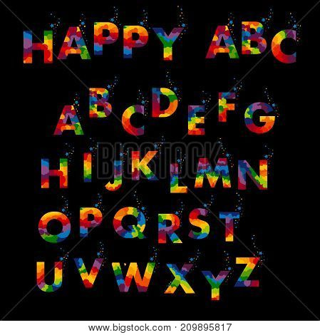 Vector of stylized colorful font and alphabet with confetti on a black background. Vector illustration