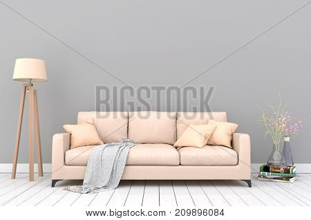 Minimal. Gray living room interior with light brown fabric sofa, lamp, cabinet and plants on empty gray wall background.3d rendering.