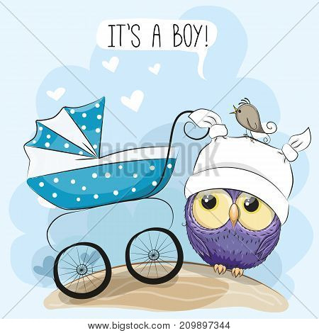 Greeting card its a boy with baby carriage and Owl