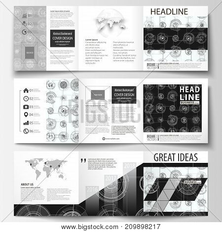 Business templates for square tri fold brochures. Leaflet cover, flat layout, easy editable vector. High tech design, connecting system. Science and technology concept. Futuristic abstract background