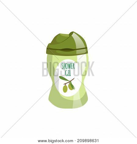 Cartoon trendy design green container with olive liquid soap icon. Shower gel. Hygiene and body care vector illustration.