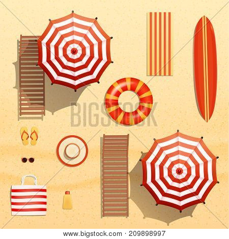 Realistic vector objects illustration, sun umbrellas, surfboard, towel, lounger, swim ring,  sunglasses and other beach equipment