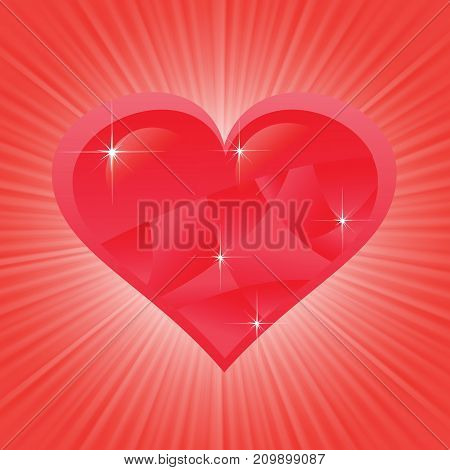Heart romantic symbol on blurred red background