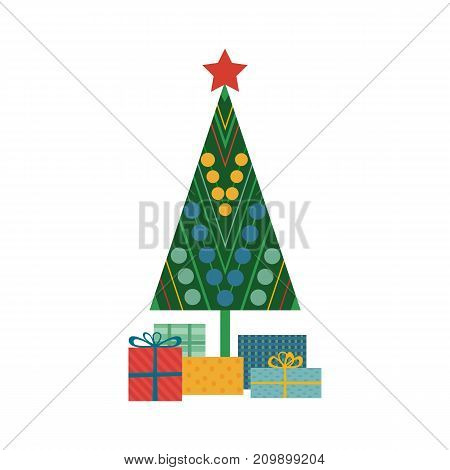 Abstract decorated Christmas tree icon. Colorful flat style. Gift boxes, decoration balls. Stylized pine tree symbol silhouette isolated. Xmas season greeting card poster template. Vector illustration