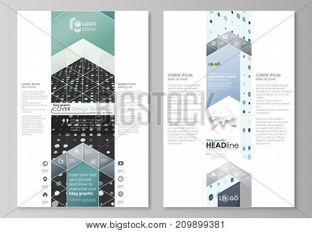 Blog graphic business templates. Page website design template, easy editable abstract vector layout. Abstract soft color dots with illusion of depth and perspective, dotted technology background. Multicolored particles, modern pattern, elegant texture, ve