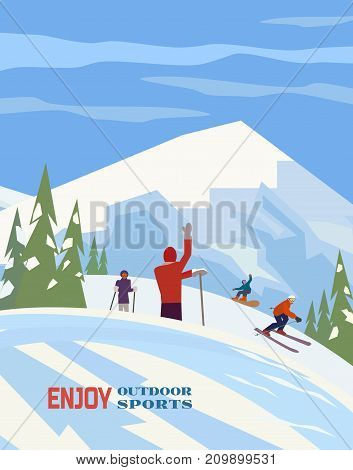 Winter sports activities poster. People skiing, young sportsmen snowboarding. Skier on mountain ski, young snowboarder on snowboard enjoy active outdoor lifestyle. Vector retro cartoon illustration