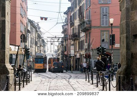 MILAN, ITALY - March 16, 2017: street view of tramway milan