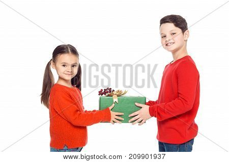 Siblings With Christmas Gift