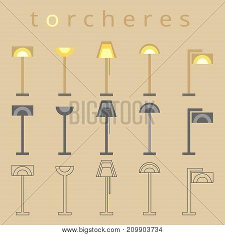 Floor lamp line icon. Flat design. Torchere, furniture, interior symbol Vector illustration