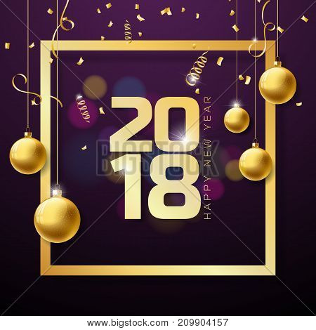 Vector Happy New Year 2018 Illustration on Shiny Lighting Background with Typography Design and Christmas Ornamental Balls