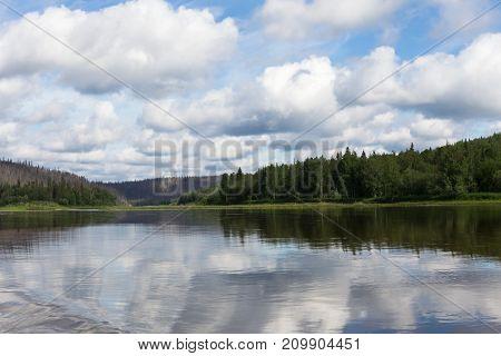 A small tributary of the big siberian river. Krasnoyarsk region, Russia