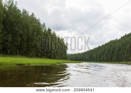 A small tributary of the very big river. Krasnoyarsk region, Russia
