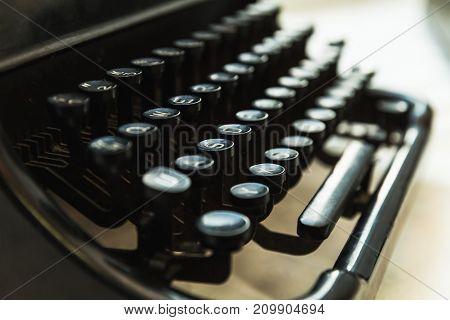 Vintage Manual Typewriter Machine, Close-up