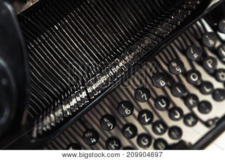 Vintage Manual Typewriter Machine, Closeup