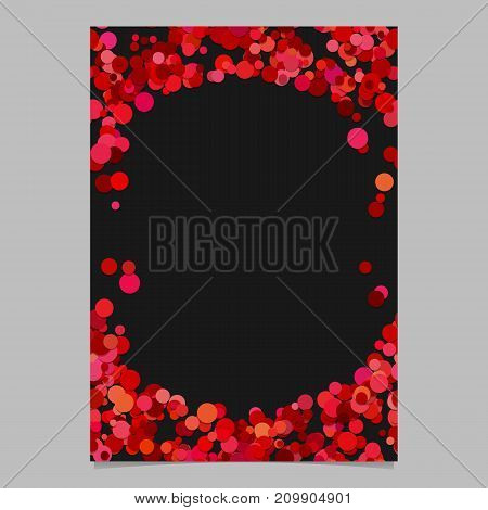Geometrical chaotic dot pattern brochure background template - trendy vector blank flyer border design from color circles in red tones