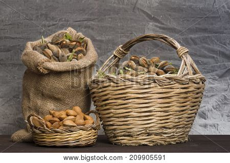 Almonds over a rustic wooden board. Rustic sack and basket.