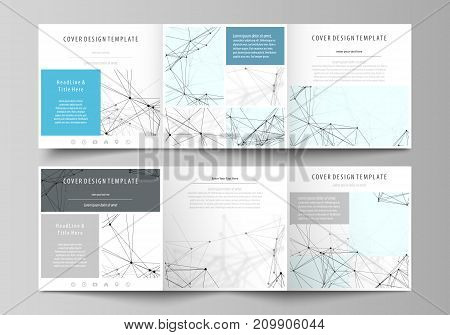 Set of business templates for tri fold square design brochures. Leaflet cover, abstract flat layout, easy editable vector. Chemistry pattern, connecting lines and dots, molecule structure on white, geometric graphic background.